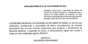 Resolução SEMED nº 001/ 2019