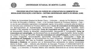 Edital UAB Licenciatura 2019