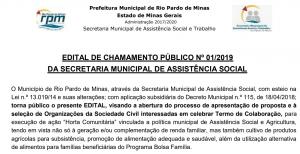 EDITAL DE CHAMAMENTO PÚBLICO Nº 01/2019