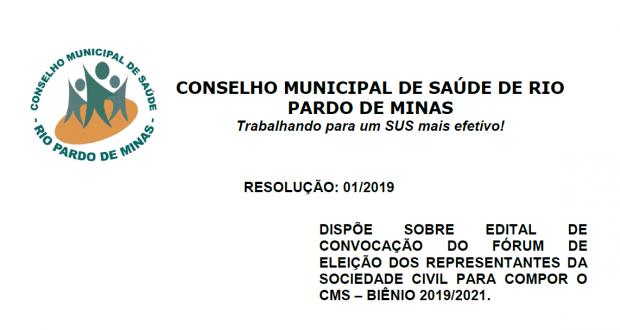 Resolução nº 01/2019 – Conselho Municipal de Saúde