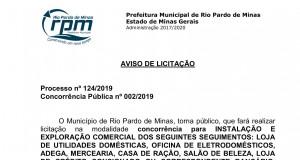Aviso Processo 124 2019 Concorrência  02 2019