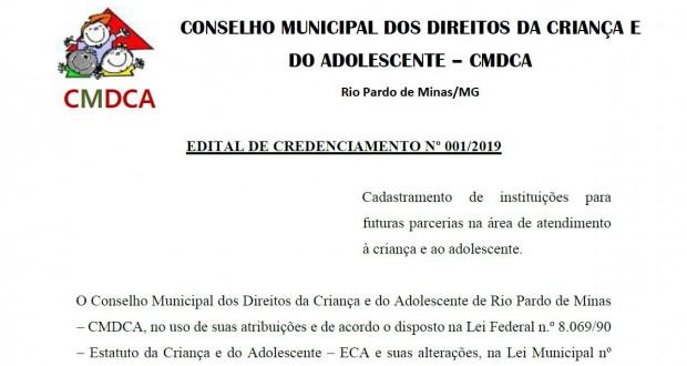 EDITAL DE CREDENCIAMENTO Nº 001/2019