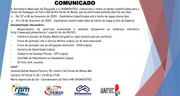 Comunicado de Matrículas de Graduação do Polo UAB de Rio Pardo de Minas